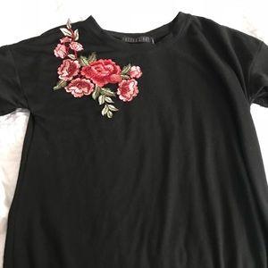 Black Flower Embroidered Tshirt